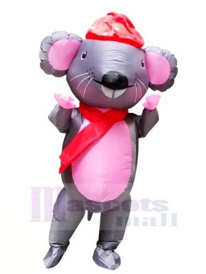 Herr. Maus mit rot Hut Aufblasbar Maskottchen Kostüme Karikatur