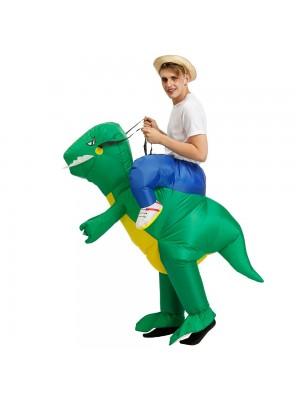 Dinosaurier Reitenauf Aufblasbar Kostüm Schlag oben Kostüm zum Erwachsener/Kind Grün