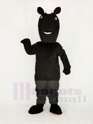 Realistisch Schwarz Mustang Pferd Maskottchen Kostüm Schule