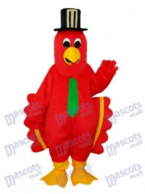 Roter Vogel mit schwarzem Hut Maskottchen Kostüm
