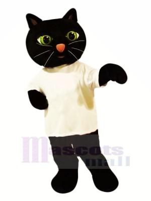 Schwarz Katze mit Weiß T-Shirt Maskottchen Kostüme Tier
