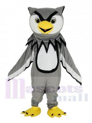 Grau Eule mit Gelb Schnabel Maskottchen Kostüm Vogel