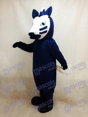 Trojanisches Pferd im blauen Maskottchen Kostüm
