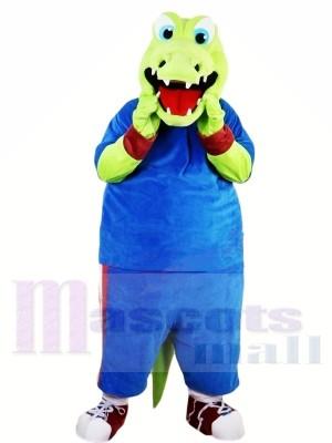 Grün Alligator mit Blau Passen Maskottchen Kostüme Tier