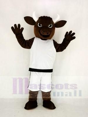 Braun Sport Leistung Stier mit Weiß Passen Maskottchen Kostüm Hochschule
