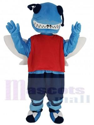 Blaue Hornisse Maskottchen Kostüm in dunkelblauen Shorts Tier