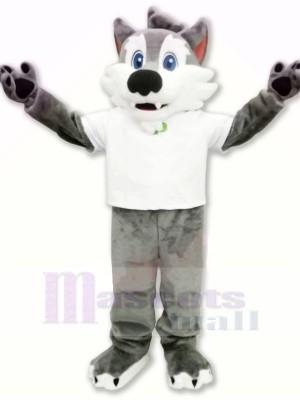 Hochschule Wolf mit Weiß T-Shirt Maskottchen Kostüme Karikatur