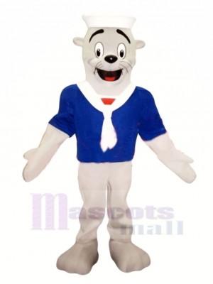 Siegel mit Blau T-Shirt Maskottchen Kostüm Karikatur