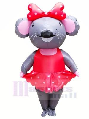 Frau. Maus mit rot Kleid Aufblasbar Maskottchen Kostüme Karikatur