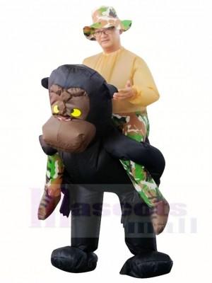 Gorilla Affe Nimm mich mit, reite weiter Gibbon Schimpanse Aufblasbar Halloween Weihnachten Kostüme für Erwachsene