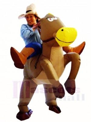 Cowboy Cowgirl Fahren auf Braun Pferd Aufblasbar Halloween Weihnachten Kostüme für Erwachsene