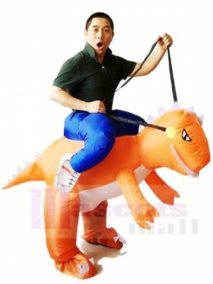 Orange Dinosaurier Trage mich weiter T-Rex Aufblasbare Halloween Weihnachten Kostüme für Erwachsene