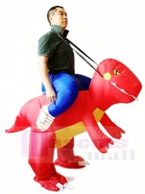 rot Dinosaurier Tragen Sie mich auf T-Rex Aufblasbare Halloween Weihnachten Kostüme für Erwachsene