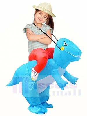 Blauer Dinosaurier tragen mich auf T-Rex aufblasbare Halloween Weihnachts kostüme für Kinder