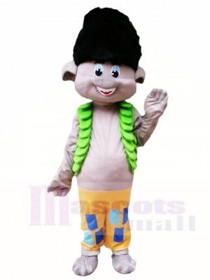 Trolls schwarzes Haar Jungen Niederlassungs Maskottchen Kostüm Karikatur