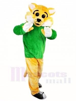 Gelber BobCat WildCat im grünen Hemd Maskottchen Kostüme Tier