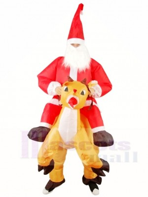 Reindeer Carry Santa Claus Father Christmas Inflatable Halloween Xmas Costumes for Adults