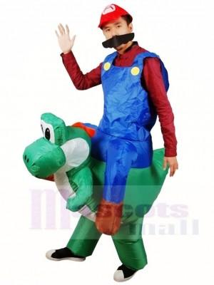 Super Mario Brother Fahrt auf T-Rex Aufblasbares Halloween Weihnachten Kostüme für Erwachsene