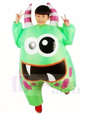 Großer Mund Grün Monster aufblasbares Halloween Weihnachten Kostüme für Kinder