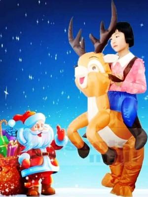 Reiten Sie auf dem aufblasbaren Ren Halloween Weihnachten Kostüme für Kinder
