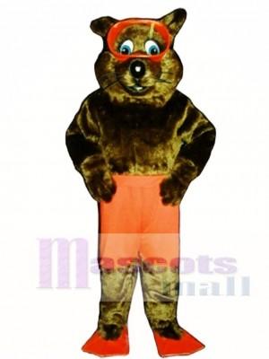 Fluss Otter mit Shorts, Flossen & Goggles Maskottchen Kostüm Tier