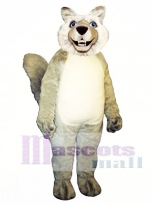 Nettes lächelndes Wolf Maskottchen Kostüm Tier