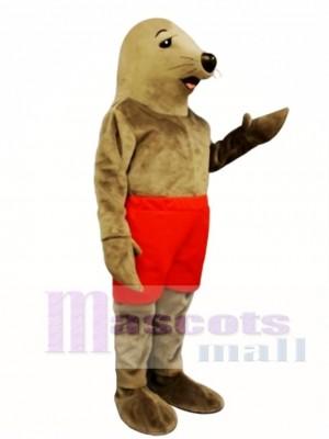 Cute Sunning Seal mit Shorts Maskottchen Kostüm
