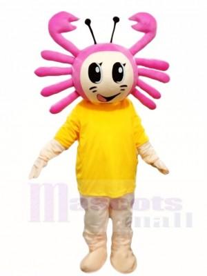 Rosa Krabbe mit gelbes Hemd Maskottchen Kostüm Karikatur