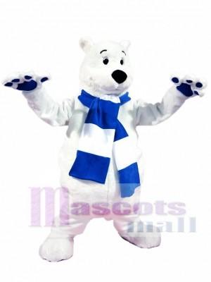 Blaue und weiße Schal Eisbär Maskottchen Kostüme