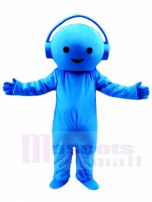 Blauer Musik DJ Junge mit Kopfhörer Maskottchen Kostüm Leuten