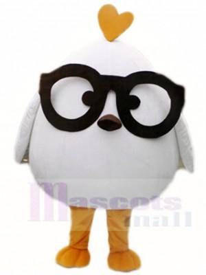 Weiß Hähnchen mit Schwarz Brille Maskottchen Kostüme Geflügel Tier