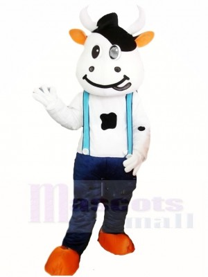 Kuh Maskottchen Kostüme mit Blau Overall Tier