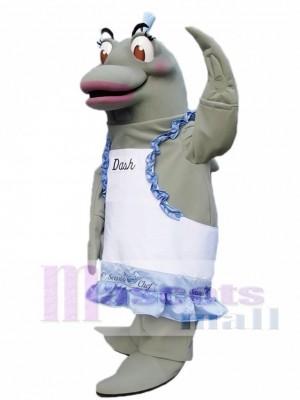 Grau Delphin Chef auf richtigen Maskottchen Kostümen