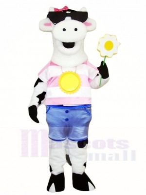 Weiße Kuh mit Sonnenbrille Maskottchen Kostüme Bauernhof Tier