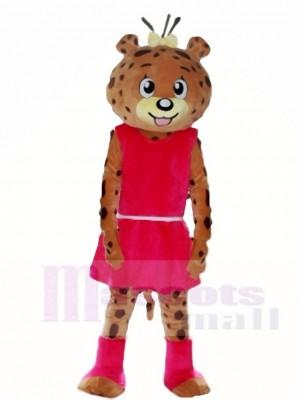 Rosa Kleid Leopard Panther Maskottchen Kostüme Tier