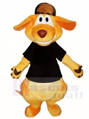 Schwarzes Hemd und Hut Känguru Maskottchen Kostüme Tier
