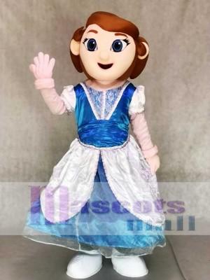 Prinzessin Maskottchen Kostüme in blau und weiß Kleid