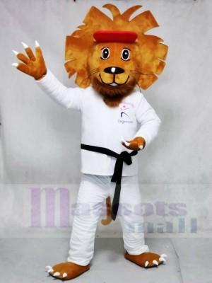 Glückliches Taekwondo Löwe Maskottchen Kostüme Tier