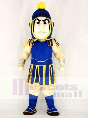 Blauer und gelber spartanischer Trojaner Ritter Sparty Maskottchen Kostüm Leute