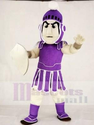 Lila spartanisch Trojan Ritter Sparty mit Schild Maskottchen Kostüme Menschen