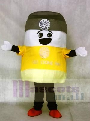Marshmallow Maskottchen Kostüme mit Grau Hut Snack