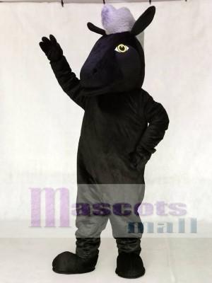 Netter schwarzer Mustang Pferd Maskottchen Kostüm Tier
