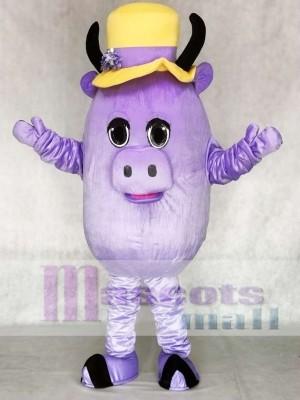 Verrücktes Lila Kuh Maskottchen Kostüm Tier