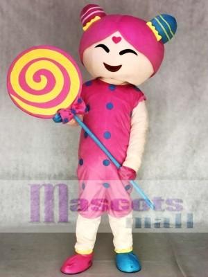 Rosa Candy Girl Adult Maskottchen Kostüm
