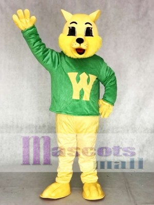Netter Gewinner Wilde Katze Katze im grünen Weste Maskottchen Kostüm Tier