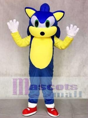 Grüne Augen Blauer Igel Sonic Maskottchen Kostüm