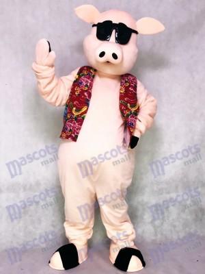 Pig Ferkel Schwein mit Hawaiian Vest & Sonnenbrille Maskottchen Kostüm