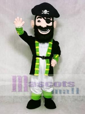 Freiwählbare Farbe Roter Bart Pirat Grüne Manschetten Maskottchen Kostüm