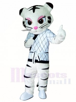 White Kung Fu Judo Tiger Tigress Mascot Costumes Animal