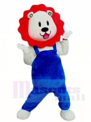 Rote Mähne Blauer Overall Löwe Maskottchen Kostüme Tier